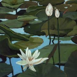 Water Lilies  realistic landscape oil painting by Linda Apple